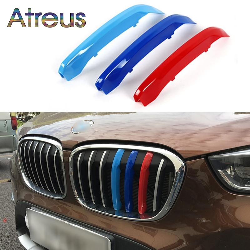 Atreus 3 шт., автомобильная передняя решетка, отделка, спортивные полоски, покрытие, наклейки для BMW X1 F48 E84 X3 F25 X5 F15 E70 X4 F26 X6 E71 F16, аксессуары