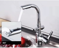 multifunctional brass deck mounted chrome finish kitchen sink double use bibcock for laundry mop pool washing machine dual tap
