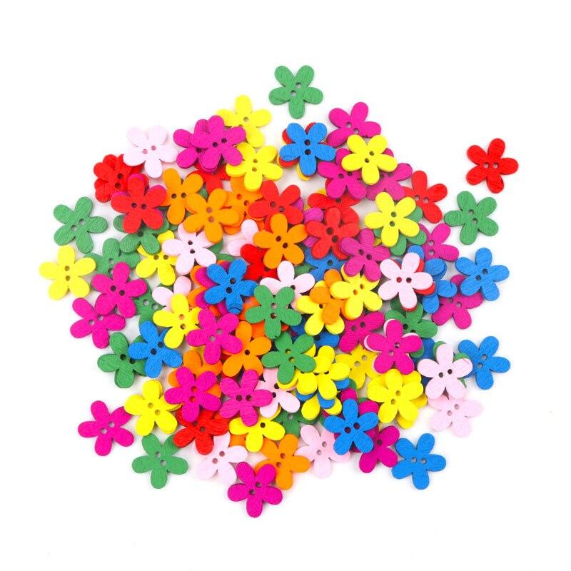 Опт, 100 шт., 14x15 мм, разноцветные милые цветы, натуральный декор, шитье, скрапбукинг, деревянные кнопки, MZ0006X