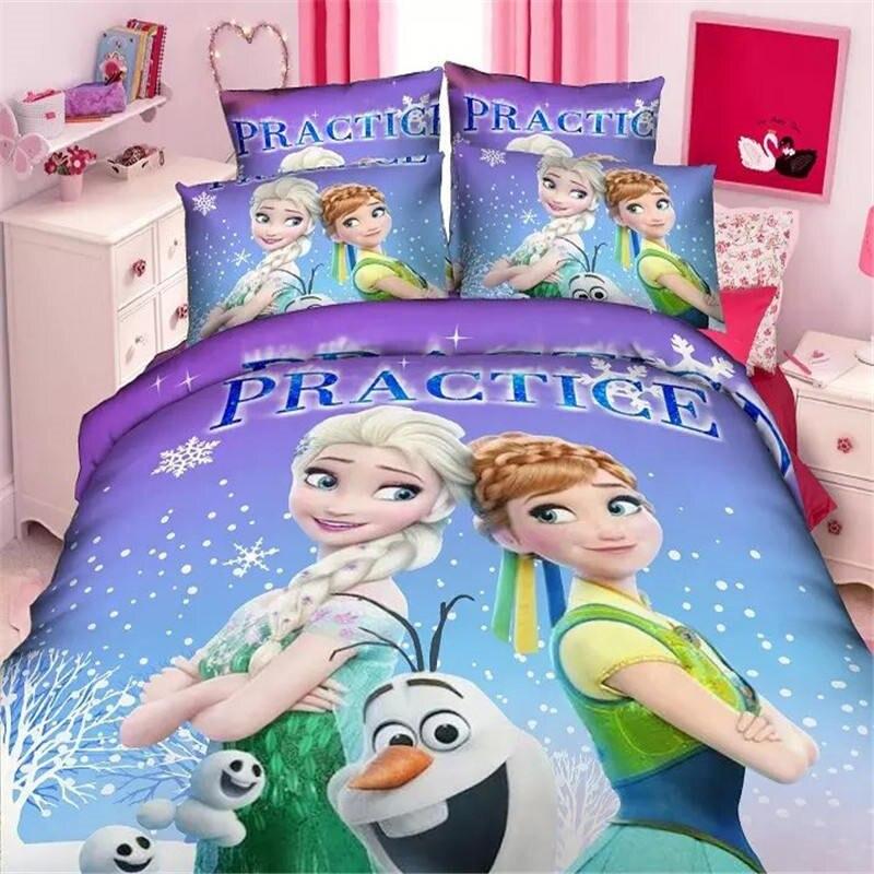 Disney Dibujos Animados princesa Frozen elsa anna Niños Niñas Ropa de cama juego de edredón cubierta de la cama fundas de almohada doble tamaño individual 3 uds regalo