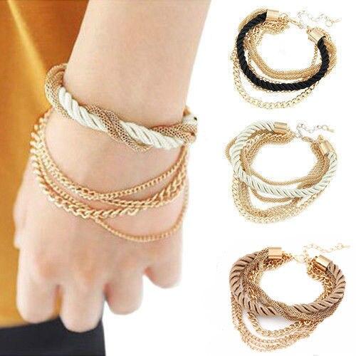Nouveau magnifique Bracelet en tissu tissé multicouche avec chaînes dorées