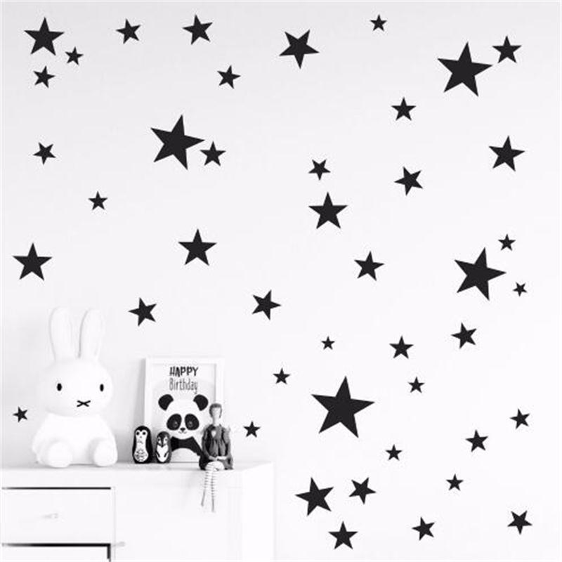 Nuevo 45/24 Uds pegatinas de pared de dibujos animados estrellados para habitaciones de niños decoración del hogar pequeñas pegatinas para pared en forma de estrellas bebé guardería vinilo artístico DIY Mural
