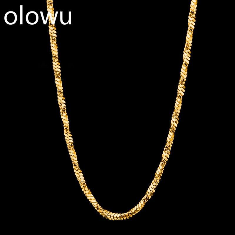 Collar de cadena de acero inoxidable único de moda de olohu, collar de cadena de eslabones de 1mm, collares de joyería, venta al por mayor, oro y plata