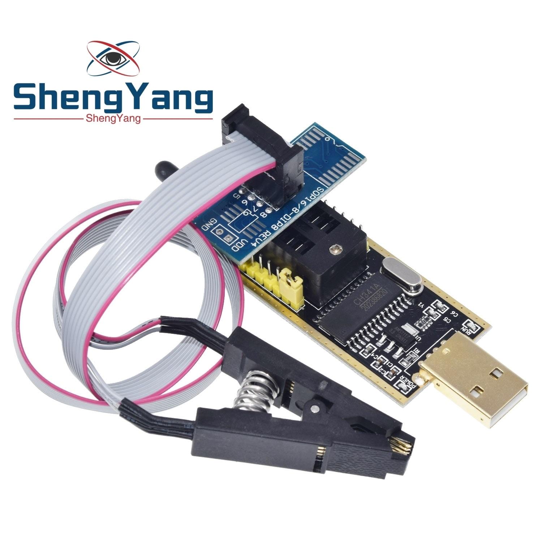 Ch341a 24 25 séries eeprom flash bios usb programador módulo soic8 sop8 clipe de teste para eeprom 93cxx/25cxx/24cxx
