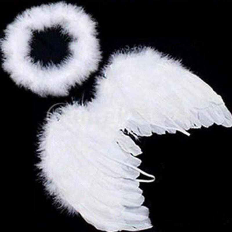 1 комплект, милые детские белые перья, крылья ангела с повязкой на голову, головной убор для дня рождения, украшения, Лидер продаж