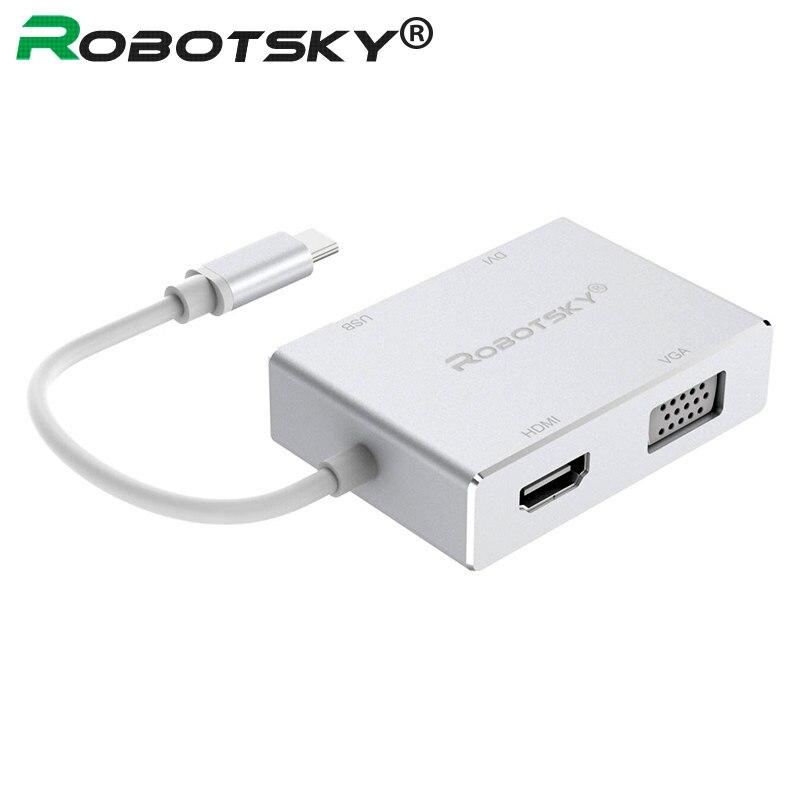 4 в 1 Тип C к HDMI VGA DVI USB 3,0 адаптер HDTV AV конвертер кабель для Macbook USB-C телефона планшета монитора
