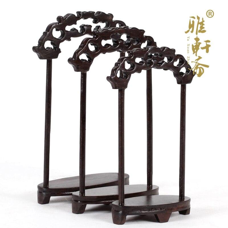H tallado en madera negra de galería de artesanía Estudio de caoba tallado jade joyería marco grúa tres conjuntos
