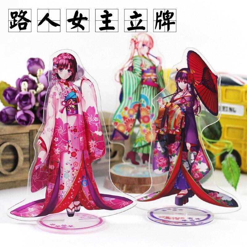 Anime Saekano ¿cómo criar a un aburrida novia Megumi Cosplay doble lado figura acrílica con soporte placa clave llaveros