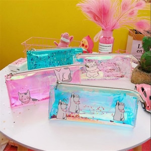 1 Pcs Kawaii Pencil Case lucency Cat Gift Estuches School Pencil Box Pencilcase Pencil Bag School Supplies Stationery