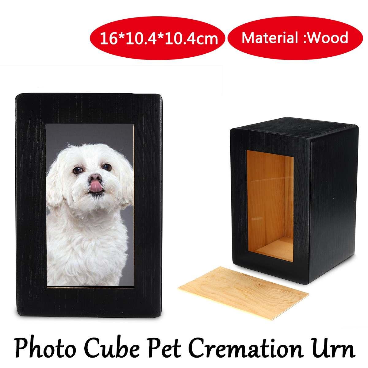 10.4x10.4x16cm Wooden Photo Cube Pet Cremation Black Urn Pet memorial keepsake Urn For Pet Picture Ashes