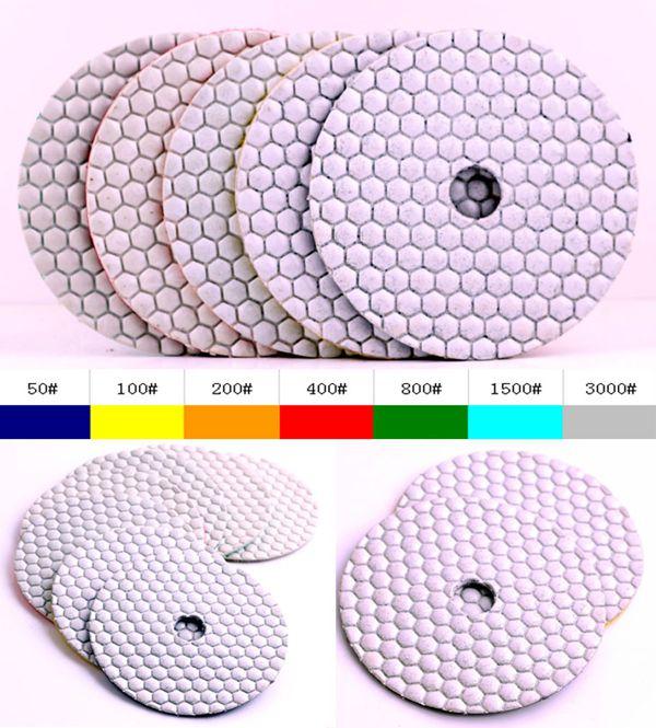 """100 #5 """"(125mm) granito diamante seco 125mm almohadillas de pulido, disco de pulido para piedra"""