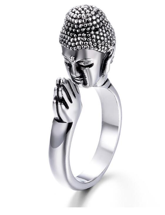 Anillo de aleación de Metal de alta calidad Unisex para la Paz Buddha Sakyamuni budismo cabeza anillo para la Paz rezar por la suerte anillo ajustable hombres w