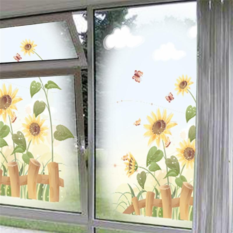 garden sunflower wall stickers home decor living room kids room window beautiful scenery pvc wall decals art diy mural posters