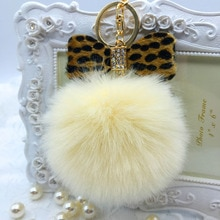 1Pcs Fur pom pom Keychain Fluffy Faux Rabbit Fur Ball Bowknot Charm Car Keychain Handbag Key Ring Co