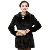 new style fashion fur coatgenuine leatherturn down collaro neck good quality mink fur coat women natural black coats of fur