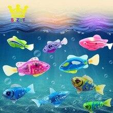 Flash Swimming Electronic Fish Pet Bath Toys Battery Powered Swim for Children Kids Bathtub Fishing