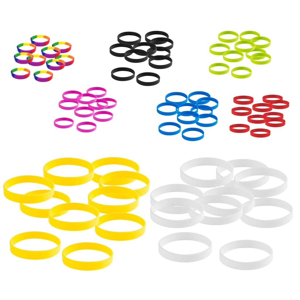 Magideal 10 pçs silicone elástico em branco pulseira pulseiras crianças esportes ao ar livre bangle um tamanho caber todos