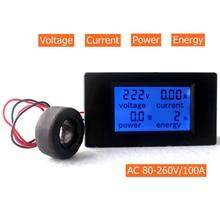 AC 80-260V/100A Volt Amp metre AC çok fonksiyonlu gerilim amper güç enerji test akım trafo