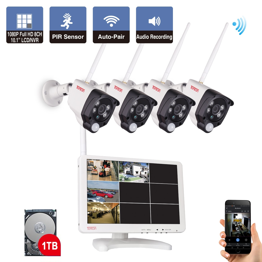 jooan security camera system wireless nvr kit wifi cctv system 4ch 1080p 2 0mp p2p indoor outdoor ip camera surveillance kits Tonton 8CH 1080P 10.1 inch LCD NVR Wireless CCTV System 2MP Outdoor Security Wifi IP Camera P2P Video Surveillance Kit 1TB HDD