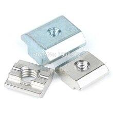 Écrou coulissant en Zinc ou Nickel, 5 pièces, 10 pièces, écrou rapide, M3/M4/M5/M6/M8, acier au carbone plaqué Zinc ou Nickel, pour profilé en aluminium 2020/3030/4040