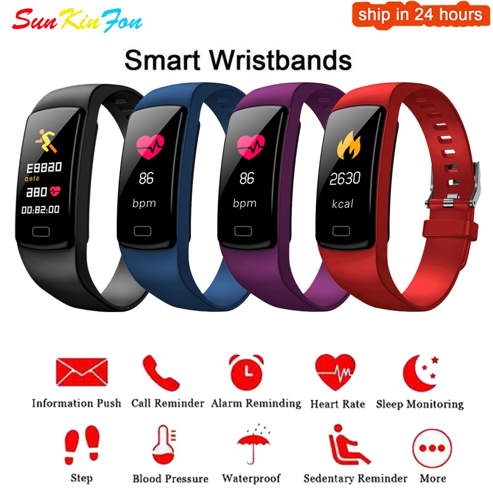 Para Samsung Galaxy S5 S4 S3 A9 A8 A7 A5 A3 pulsera inteligente pulsera deportiva Monitor de ritmo cardíaco reloj actividad Fitness Tracker Band