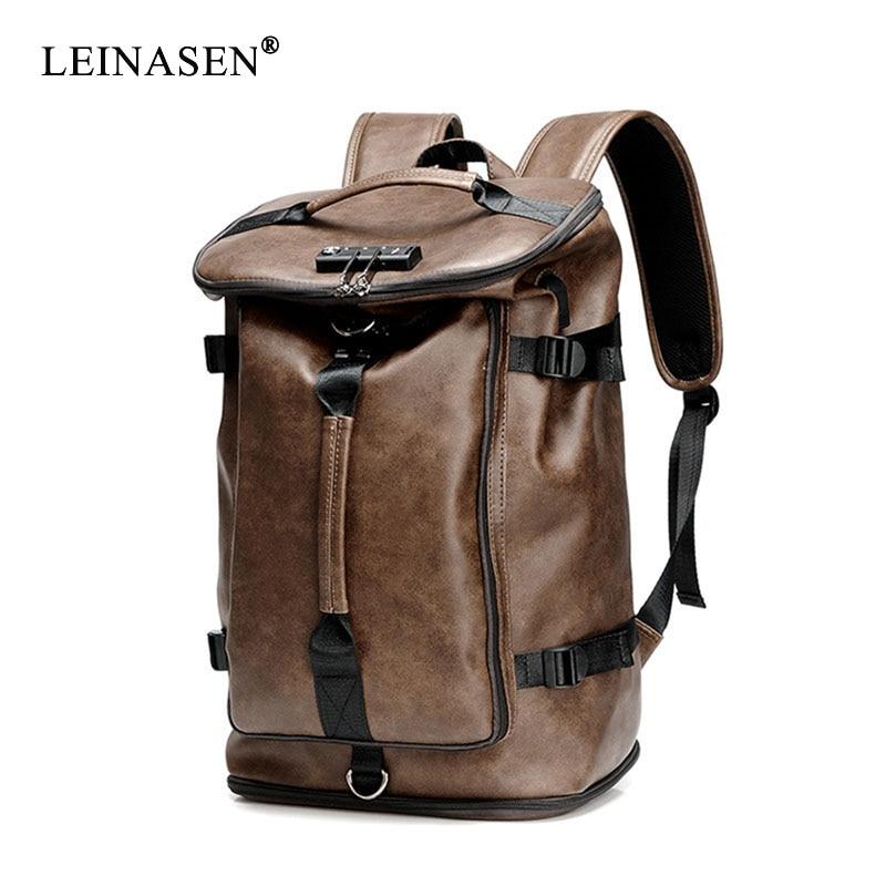 حقيبة ظهر جلدية مقاومة للماء للرجال ، حقيبة مدرسية PU ، عملية ، سعة كبيرة ، عصرية ، مجموعة جديدة