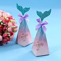 10pcs kraft paper little mermaid tail candy boxes chocolate gift box mermaid favor baby shower birthday wedding party decor