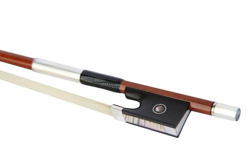 Free Shipping 4/4 Violin Bow Pernambuco Round Stick with Ebony Paris Eyes Frog and Silver Parts FP970B enlarge