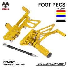 Motorcycle Accessories CNC Adjustable Foot Pegs Rear Set Footpegs Footrests For Suzuki GSX-R1000 GSXR1000 GSX R1000 2005-2006