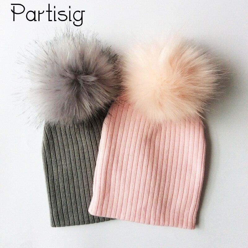 Детские шапки с помпоном из искусственного меха, вязаная крючком зимняя шапка для мальчиков, шапка для маленьких девочек, детская шапка, детские шапки