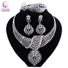 CYNTHIA nouvelle mode ensemble de bijoux africains Dubai argent plaqué collier de mariée boucles doreilles ensemble cristal indien bijoux de mariage
