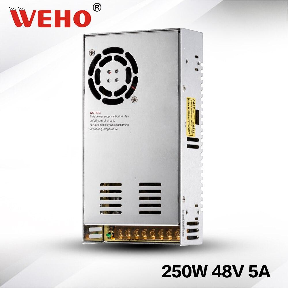 (S-250-48) IP20 الجهد المستمر AC إلى DC 250W 48v 5a امدادات الطاقة 48v تحويل التيار الكهربائي