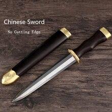 Nouvelle épée courte en acier chinois sans tranchant artiste petit couteau en acier avec fourreau en bois peut personnaliser LOGO W070