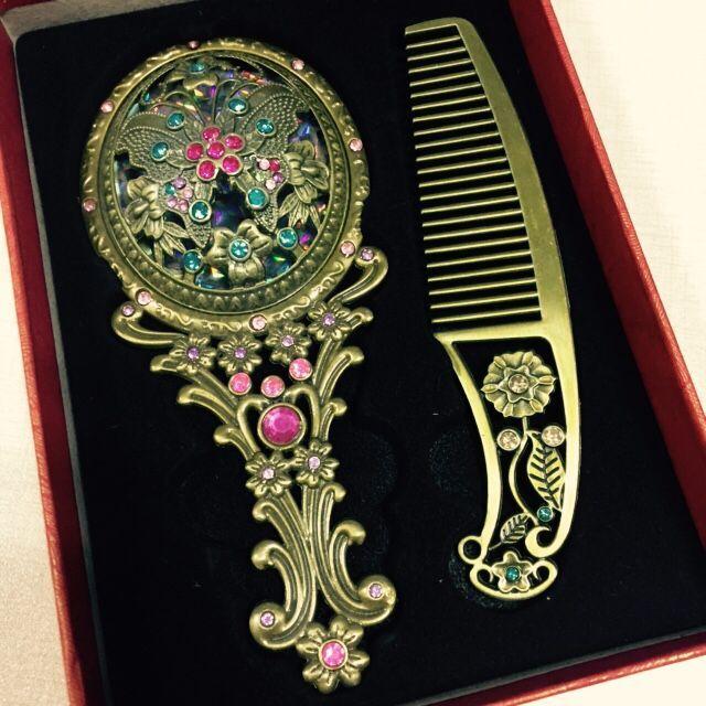 Зеркало для макияжа, винтажное зеркало и Расчёска в комплекте-15