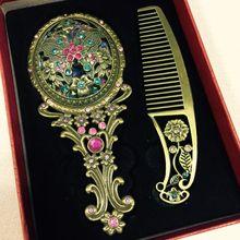 Make Up Specchio Cinese Dellannata Vuoto-out Carving Strass Specchio Pettine Set-15