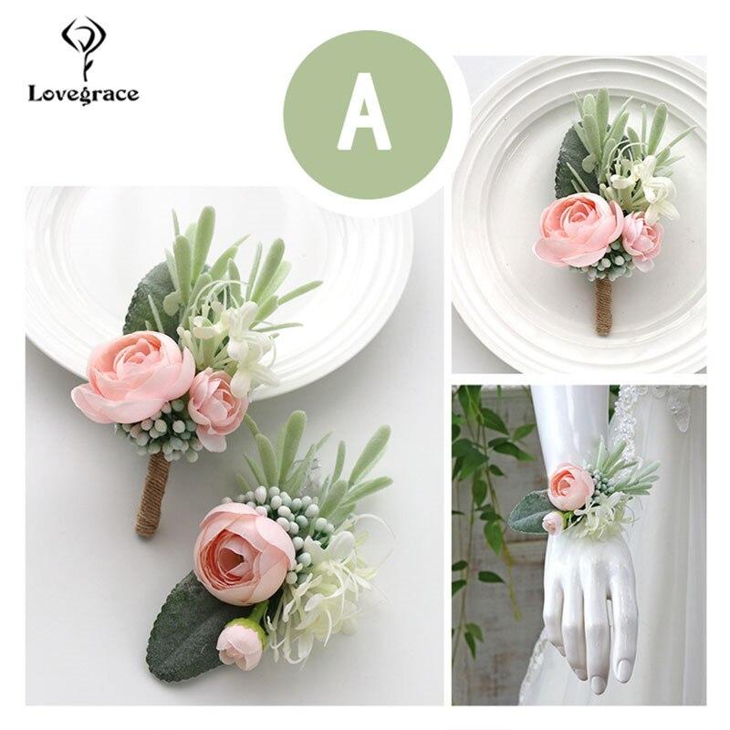 Boutonnieres de boda, brazalete con ramillete, flores de dama de honor, rosas de seda blancas, broche para novio, Pins, ramilletes de muñeca para matrimonio
