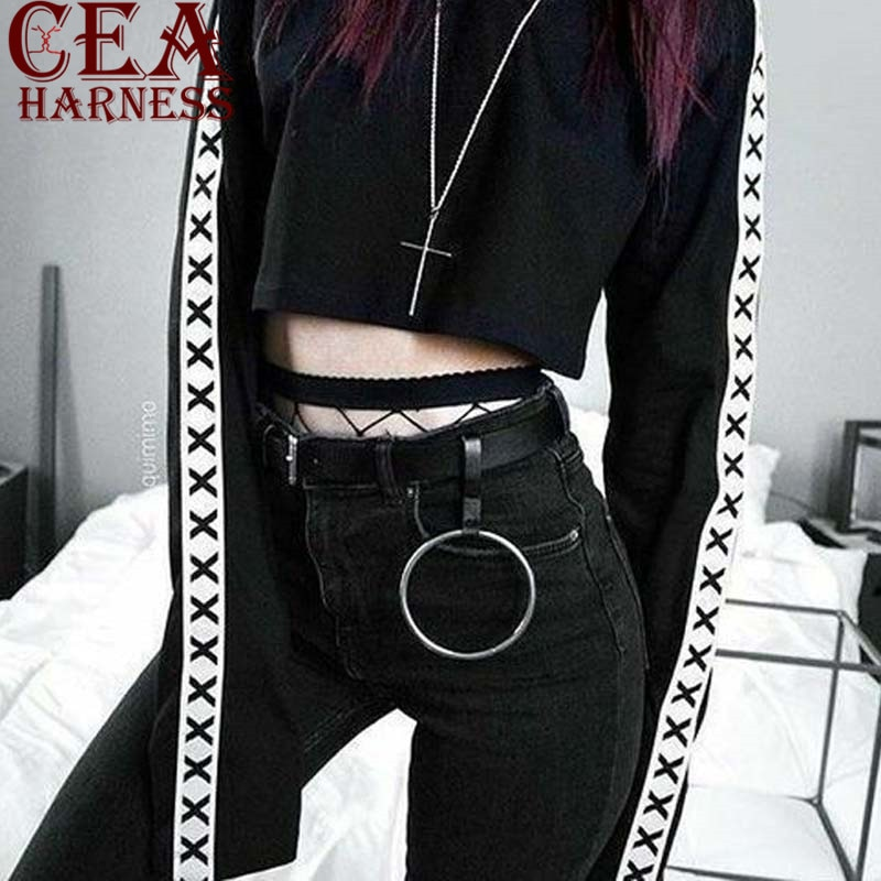 CEA.HARNESS Punk Hip-hop Men woman Belts Waist Chain big Circle Male Pants Chain Hot Jeans Silver Metal Clothing Accessories