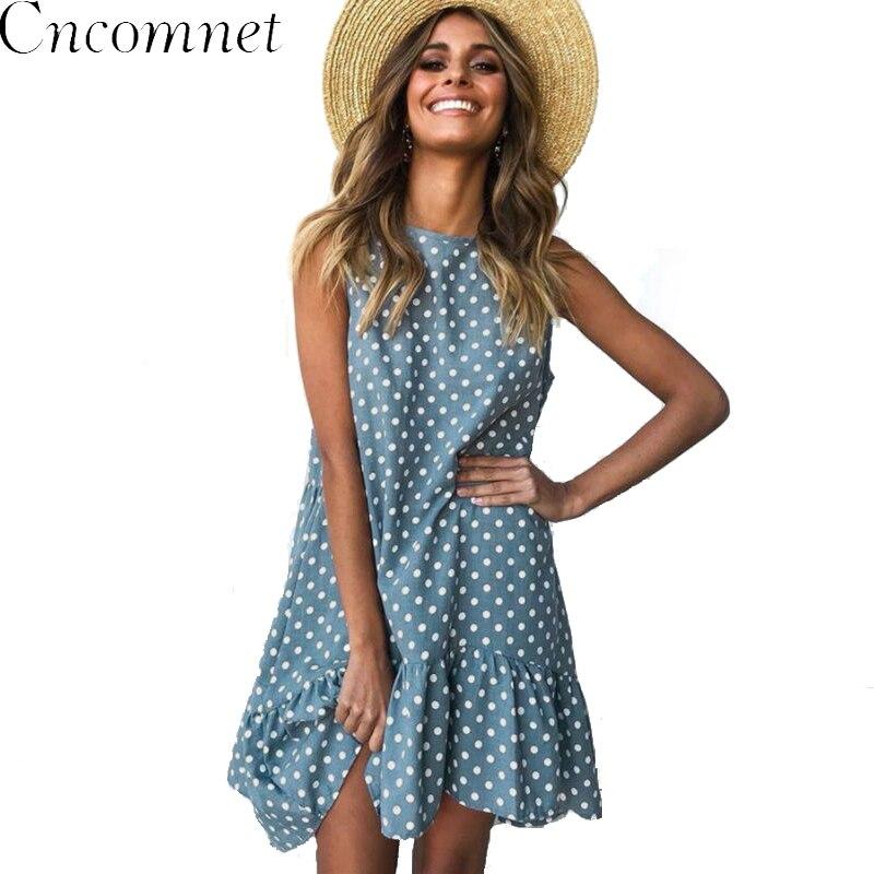 Женское летнее платье, модное платье в горошек, Пляжное мини-платье без рукавов, повседневное короткое свободное голубое платье с принтом, Новое поступление