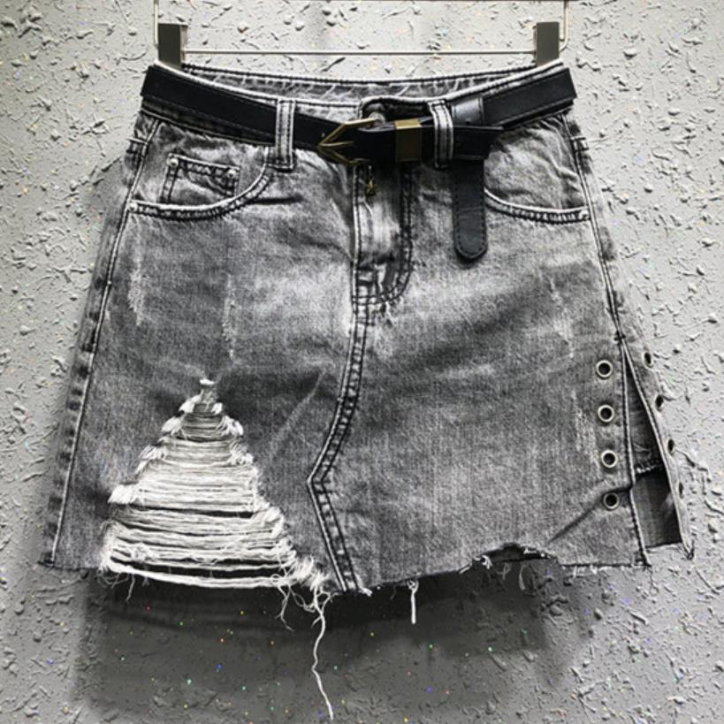 Falda de mezclilla de otoño nueva falda de mezclilla de moda anti-luz agujero mujeres jeans a-line mini falda