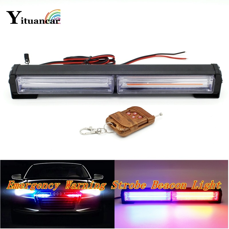 Yituancar 1 juego 40W COB LED estroboscópico Flash de advertencia coche luz IR Control 15 modos de estilo bombero policía tráfico emergencia niebla lámpara