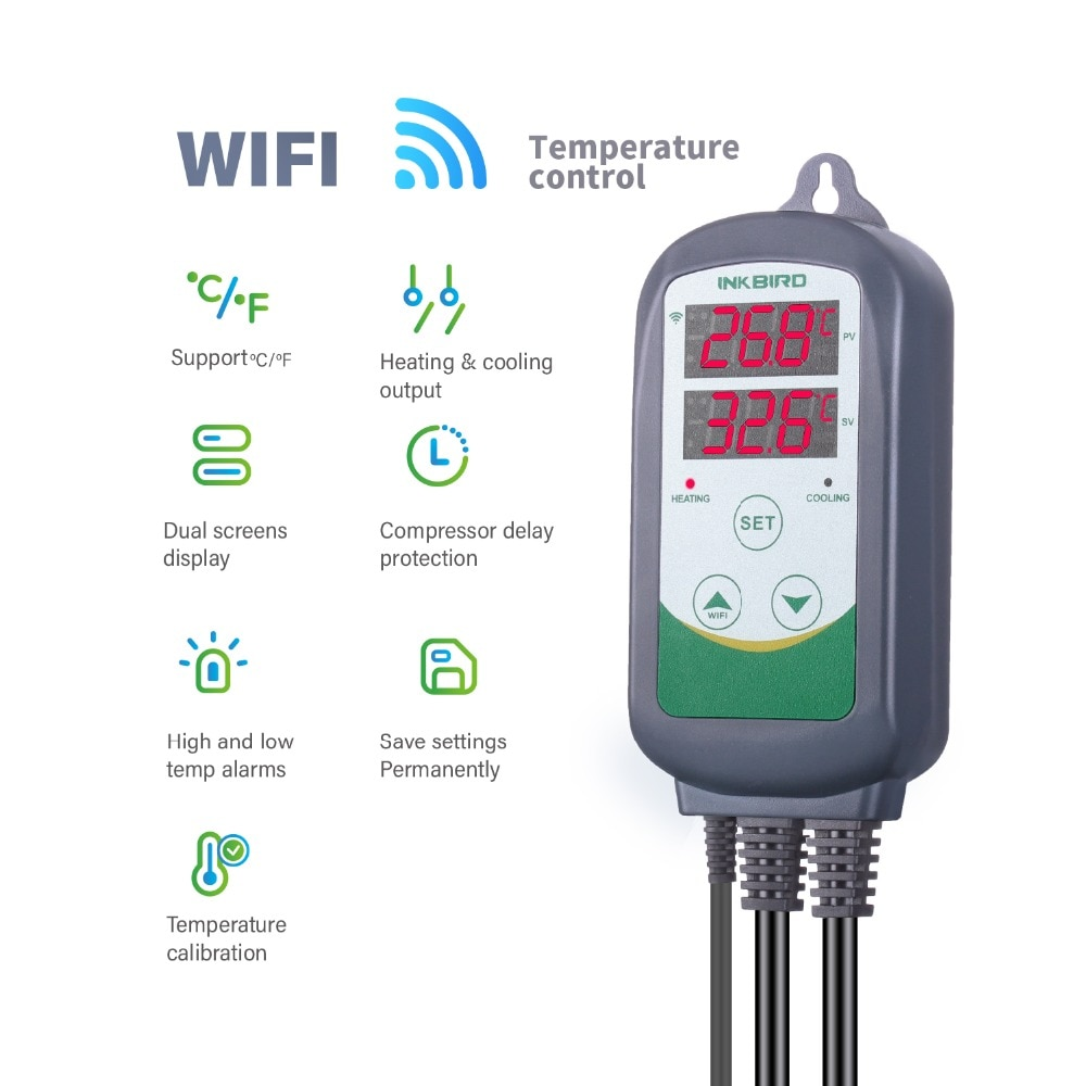 Inkbird Temperature Regulator Thermostat Household Controller 220V with Heating and Cooling Function Smart Home Kit ITC-308-WIF