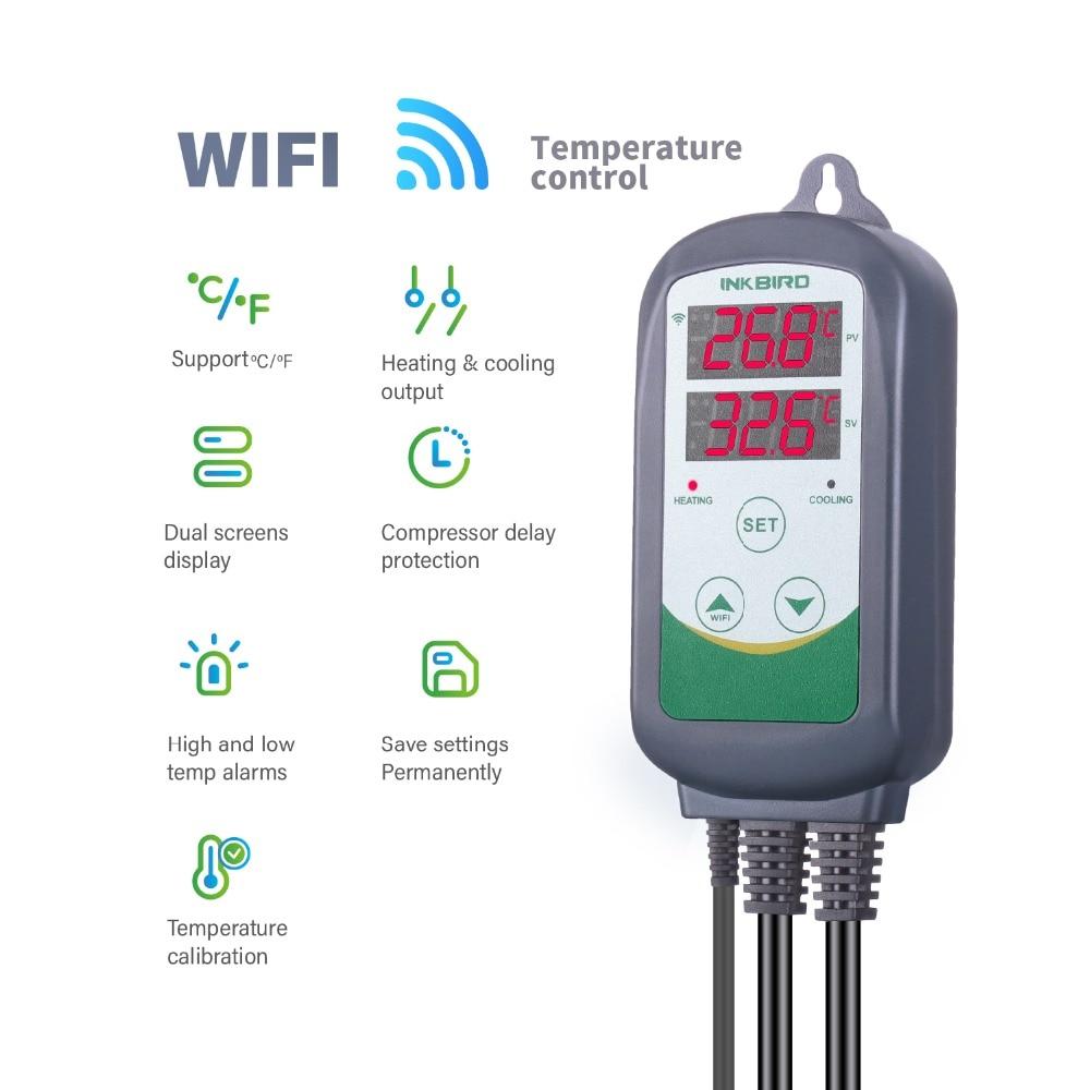Inkbird ITC-308 واي فاي الرقمية متحكم في درجة الحرارة منظم درجة الحرارة ترموستات العمل التدفئة التبريد جهاز المنزل الذكي