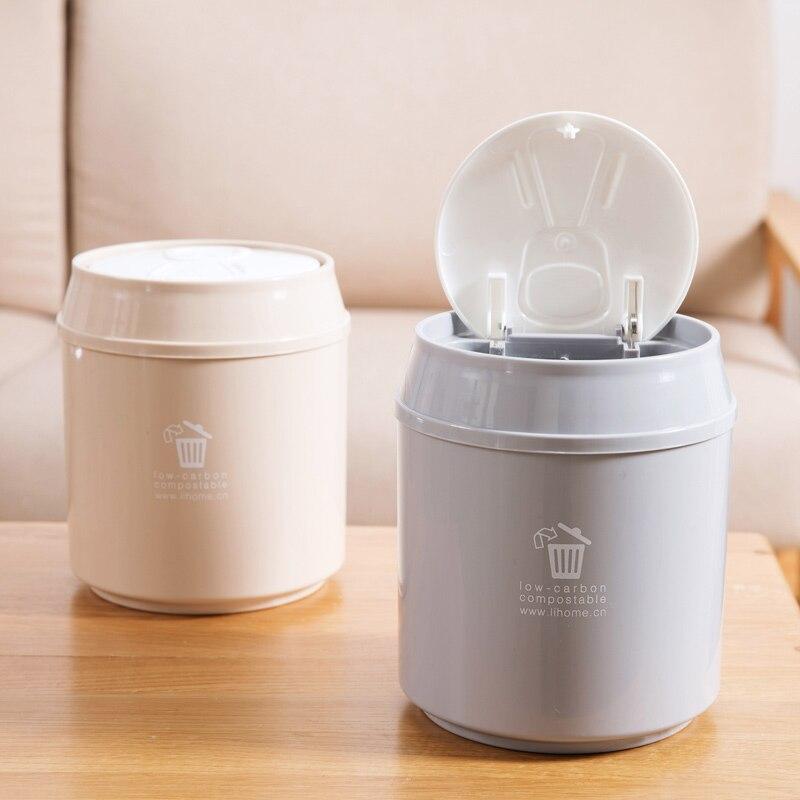 Home desktop mini trash can living room with lid paper basket creative home tea table trash box small