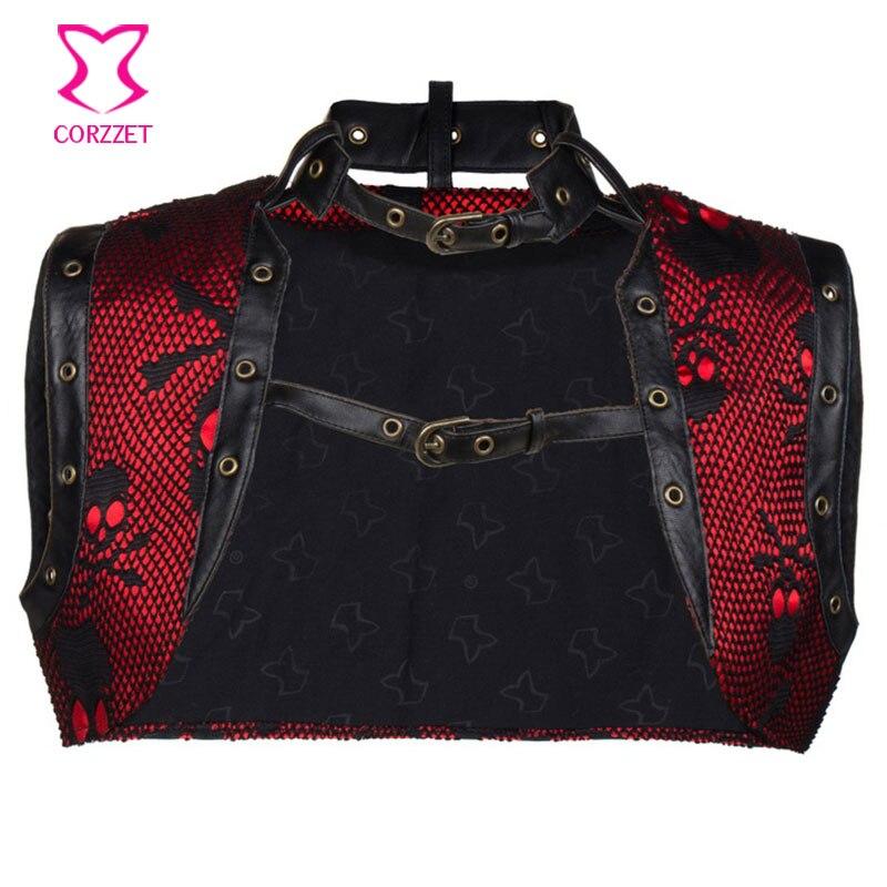 De talla grande rojo negro satinado con patrón de cráneo de cuero recortado chaleco chamarra sin mangas ropa gótica Steampunk corsé Accesorios
