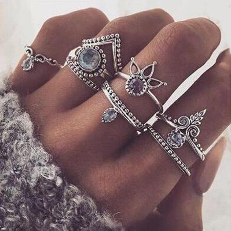 FAMSHIN Bohemian 8pcs/Set Retro Anti Silver Color Anti Gold Rings Lucky Stackable Midi Rings Set Rings for Women Party 2017 new