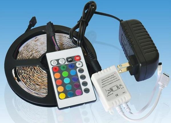 Kitop 5m RGB 3528 LED tira DC12V luz Led 300leds no impermeable lazo cinta flexible 24 teclas controlador + adaptador de corriente