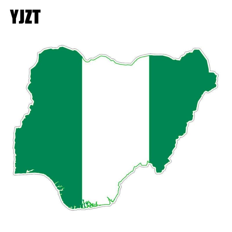YJZT 14.4CM*11.4CM Creative Nigeria Flag Map Funny Car Sticker Decal Accessories 6-1246