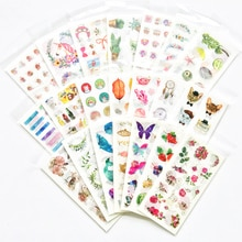 1 paquete de pegatinas Kawaii de unicornio, gato, Cactus, flor, Washi, pegatina de PVC para decoración de cuenta de mano de teléfono, papelería, regalo para niños
