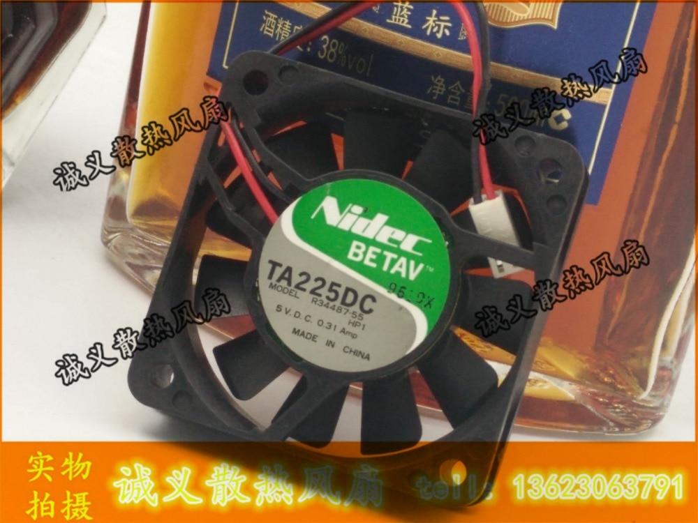 Original nidec ta225dc 5 v 0.31a r34487-55 6015 6 cm bolas doble ventilador de refrigeración 60x60x15mm