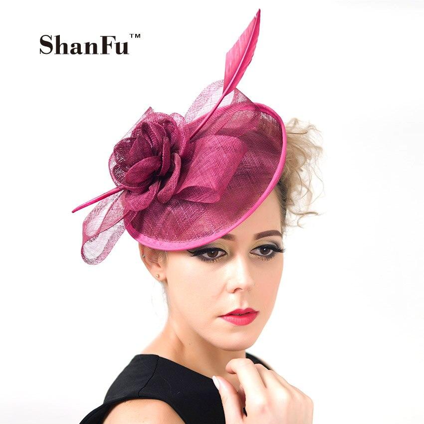 ShanFu 2018 Vintage Lady Sinamay Sagittate pluma Fascinator fucsia Fascinator diadema para fiesta sombreros para misa C12341